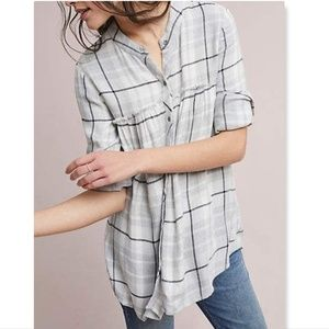 Anthropologie Cloth and Stone Plaid Swing Tunic